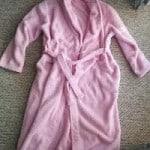 pink fluffly bathrobe